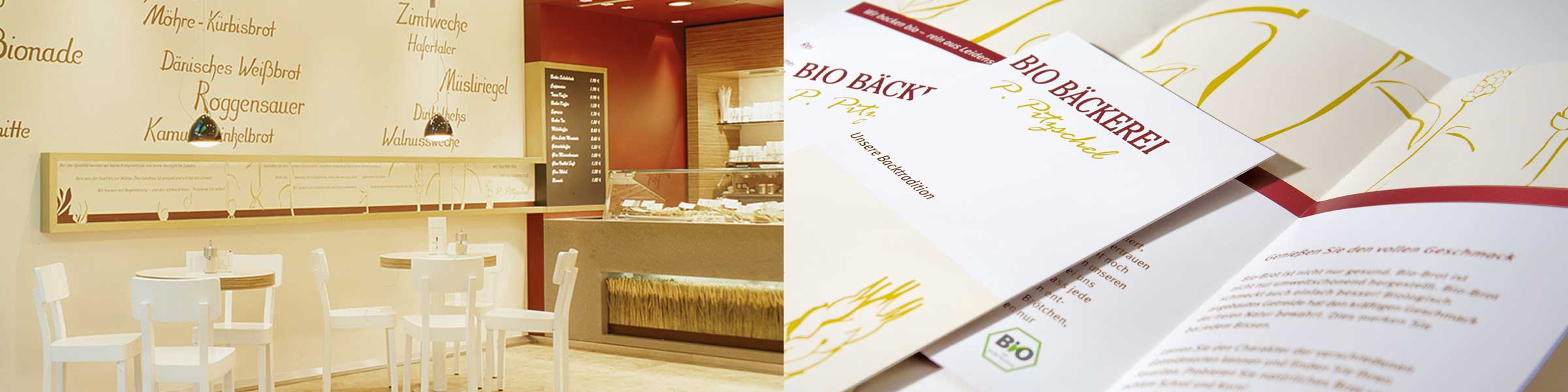 Marketing in Form von Flyer, Wandbild, Anzeigengestaltung für Bäckerei in Hamburg und Kiel
