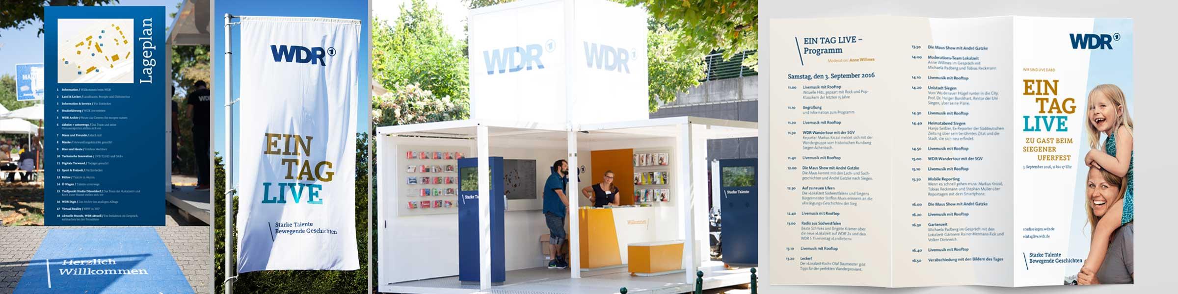 Veranstaltungsbranding: Flagge, Lageplan, Messestand, Flyer für eine Veranstaltung von Design Agentur Köln
