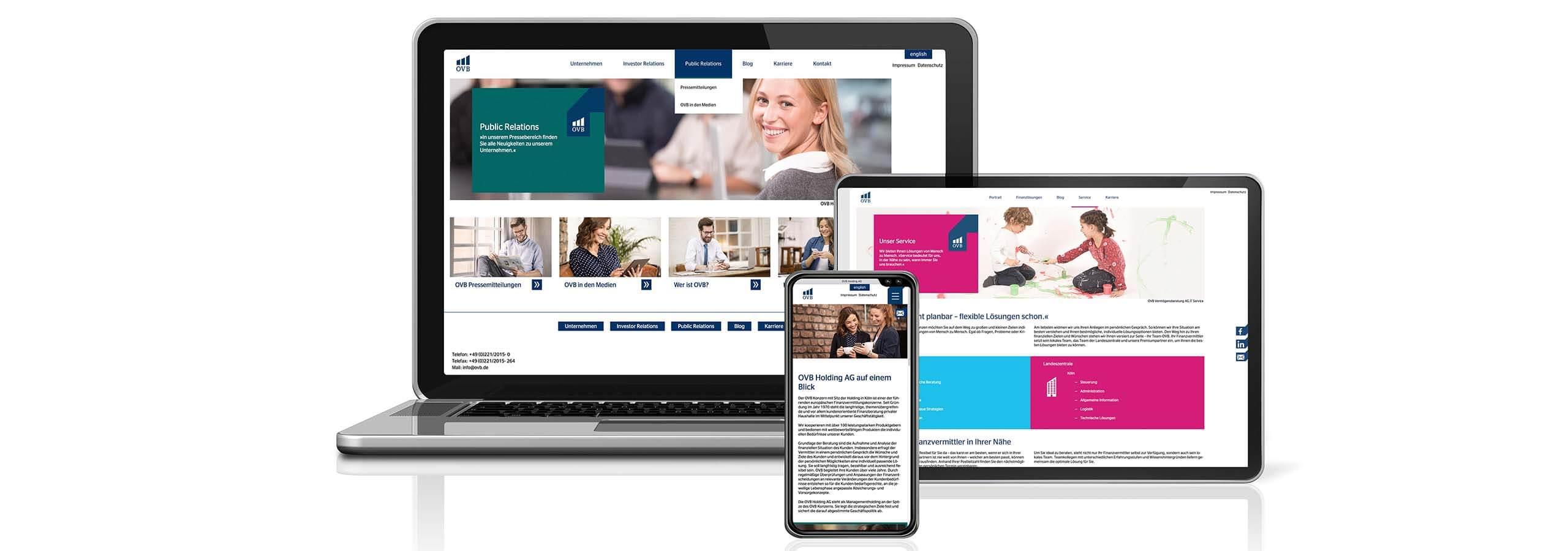 responsive Webdesign, userzentrierte Gestaltung der Website für die OVB, design von deerns und jungs design, Agentur für Corporate Design Köln