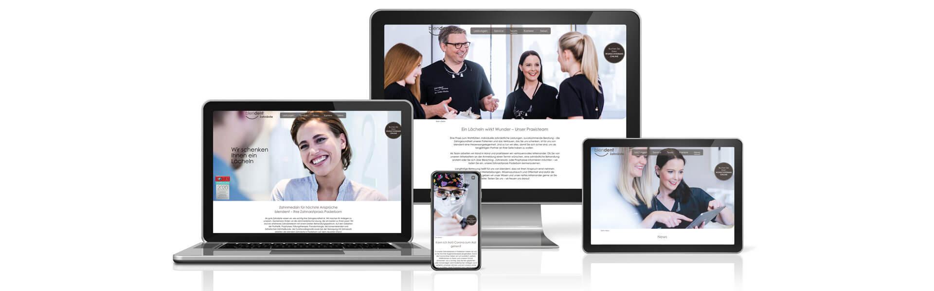 Webdesign mit SEO für blendent Zahnarztpraxis