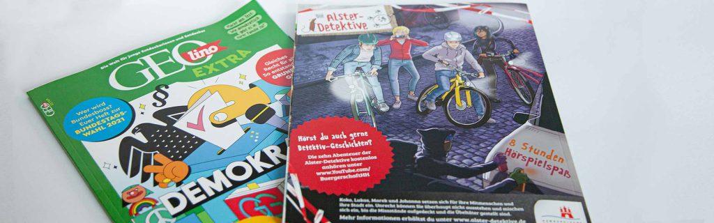 anzeigengestaltung für die GEOlino im Auftrag der Bürgerschaft Hamburg zum Thema neue Folgen der Alsterdetektive