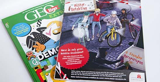 Anzeigengestaltung der Hamburger Bürgerschaft zum Thema Alster Detektive